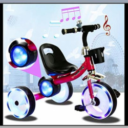 Children Tricycle Adjustable Seat 3 Wheel Pedal Bike Children's Toy Cars, Colorful Lights, Music For 2 To 6 Years Kids Maximum Weight 25 Kg,Red