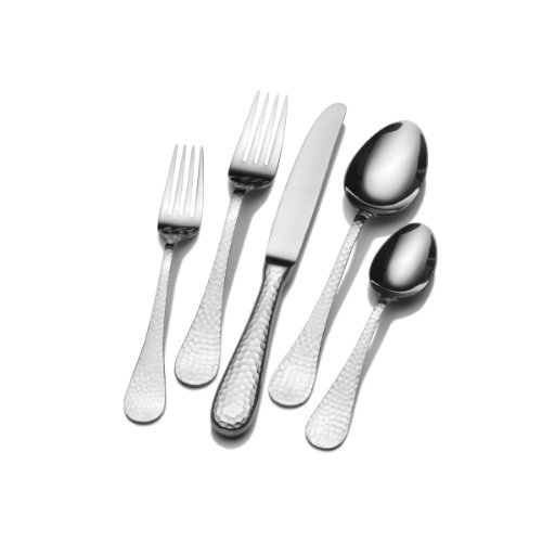 Wallace 5030397 Continental Hammered 78-Piece 18/0 Stainless Steel Flatware Set, Service for 12