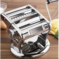 Ultimate Pasta Machine – Professional Pasta Maker – Unique Patented Suction Base for No-Slip Use of Stainless Steel Pasta Roller Machine – 150 mm – by Cestari Kitchen