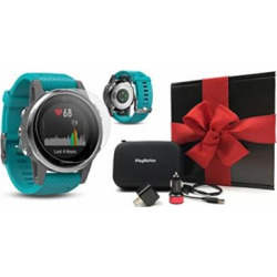 Garmin Fenix 5S (Silver with Turquoise Band) Gift Box Bundle | Includes HD Screen Protector, PlayBetter USB Car/Wall Adapter & Hard Case | Multi-Sport GPS Fitness Watch, Wrist-HR | Black Gift Box