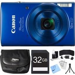 Canon PowerShot ELPH 190 IS Blue Digital Camera w/ 10x Optical Zoom 32GB Card Bundle