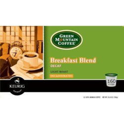 Green Mountain Coffee Breakfast Blend Decaffeinated Coffee for Keurig Brewing Systems, 160 K-Cups