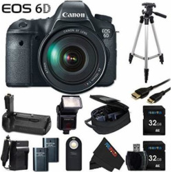 Canon EOS 6D 20.2 MP CMOS Digital SLR Camera with 3.0-Inch LCD and EF 24-105mm IS USM Lens + Pixi-Advanced Accessory Bundle