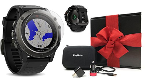 Garmin fenix 5X Sapphire (Slate Gray with Black Band) GIFT BOX Bundle | Includes Glass Screen Protector, PlayBetter USB Car & Wall Adapters, Protective Case | Multi-Sport GPS Watch, Wrist-HR/TOPO Maps