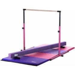 Little Gym – Adjustable Horizontal Bar – Purple Low Balance Beam – Pink/Purple Gymnastics Folding Mat