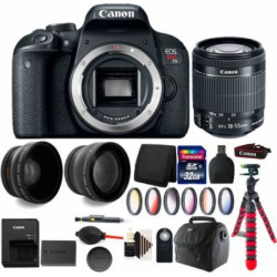 Canon EOS Rebel T7i 24.2MP Digital SLR Wifi Enabled Camera Black with EF-S 18-55 IS STM + 32GB Accessory Kit