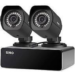 sPoE Security System, 2x 1080p Weatherproof Outdoor Cameras & 8 Ch sPoE Repeater for Power & Data Transmission