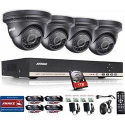 ANNKE 8CH HD-AHD 1080N DVR Recorder with 1TB Hard Drive Home Security System and (4) 1.0MP 1280×720 Weatherproof Indoor & Outdoor CCTV Cameras
