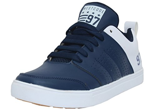 West Code Mens Shoes Synthetic Leather Casual Sneakers 8068-Blue-6
