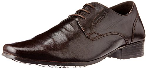 Redtape Men's Brown Leather Formals and Laceup Flats – 6 UK
