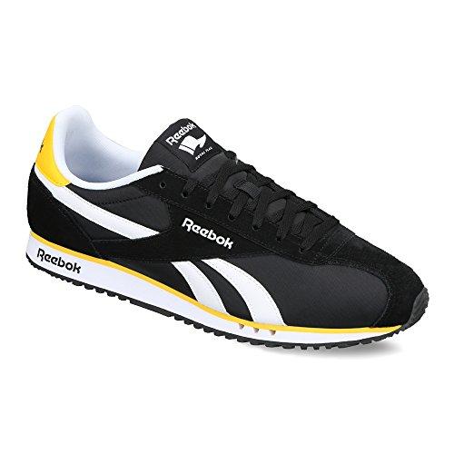 Reebok Classics Men's Royal Alperez Dash Black, White and Retro Yellow Leather Sneakers – 8 UK/India (42 EU)(9 US)
