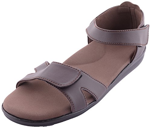 Dia One Brown Orthopedic Sandal PU Sole MCP Insole Diabetic Footwear for Women (Dia_13 Size 6 – 26 cm)