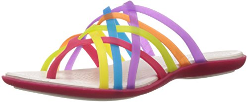 Crocs Women's Huarache Multi and Geranium Rubber Flip-Flops and House Slippers – W5