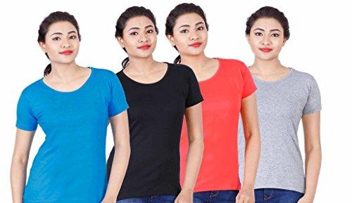 Fleximaa Women's Cotton Round Neck T-Shirt Plain (Pack of 4) – Black, Blue, Coral Red & Grey Milange Colors.