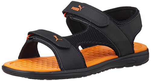 Puma Unisex Cydon DP Black and orange Rubber Athletic & Outdoor Sandals – 9 UK