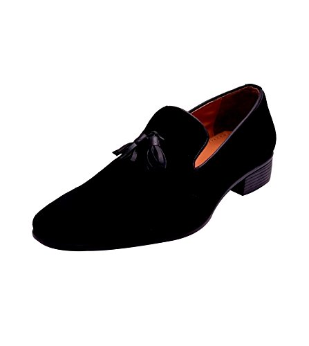 Hirel's Men Black Suede Tassel Mocassions 10