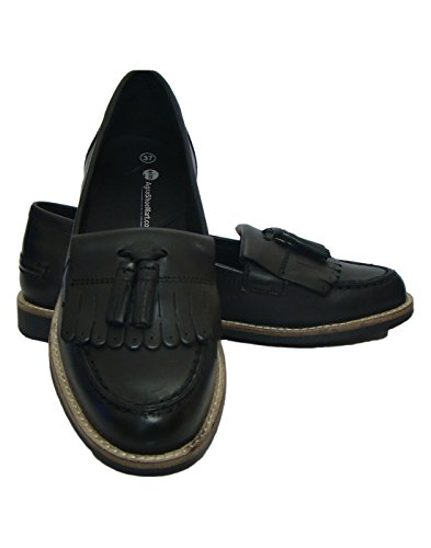 Black Leather Court Shoes For Women ( Leather Upper Material, TPR Sole, Soft Fleece Lining) (38)