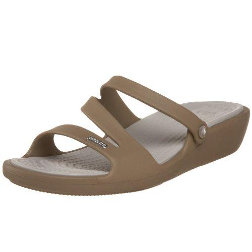 Crocs Women's Patricia Khaki and Pearl White Rubber Fashion Sandals – W5