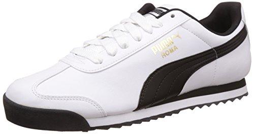 Puma Men's Roma Basic White and Black Leather Sneakers – 9 UK/India (43 EU)