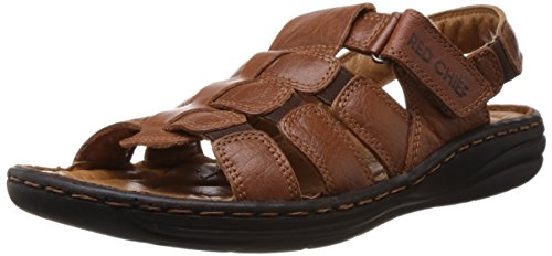Redchief Men's Glossy Tan Leather Sandals and Floaters – 6 UK  (RC1081 287)