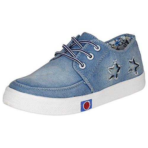 Kraasa Premium GirlsJ8 Denim Sneakers Sky Uk 7