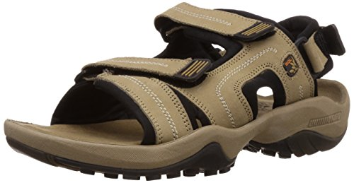 Woodland Men's Khaki Leather Sandals and Floaters – 9 UK/India (43 EU)