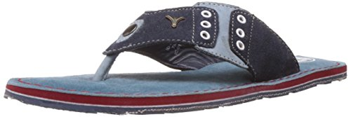 ID Men's Ocean Blue Leather and Suede Flip Flops Thong Sandals – 9 UK