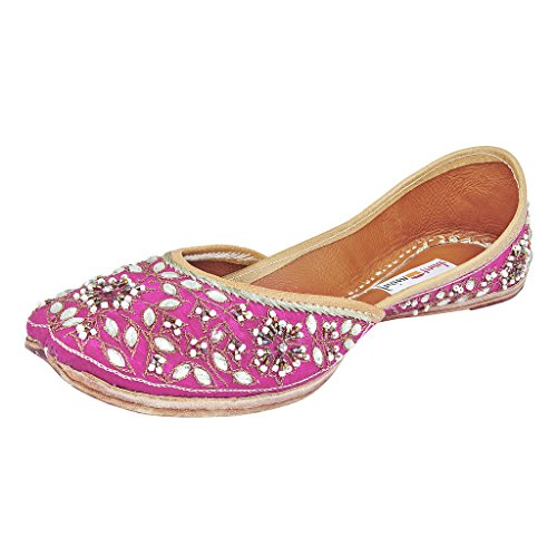 Fusion Trunk Young Bloom Women's Pink Designer Embroidered Leather Juttis – 38 EU
