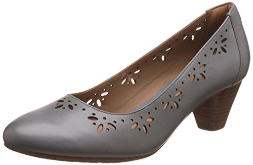 Clarks Women's Denny Dazzle Lea Grey Leather Pumps – 6 UK/India (39.5 EU)