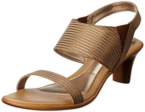 Bata Women's Gold Stripe Sandal Tan Light Brown Fashion Sandals – 4 UK/India (37 EU)(7613972)