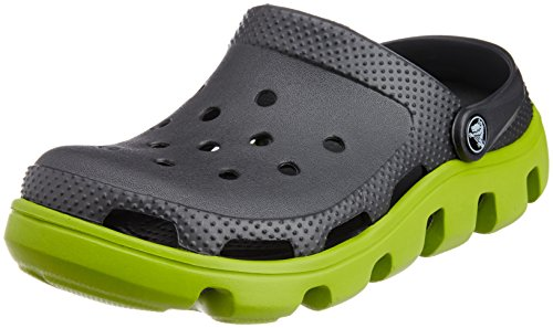 Crocs Unisex Duet Sport Clog Graphite and Volt Green Rubber Clogs and Mules – M12