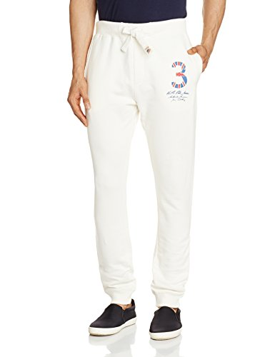 US Polo Men's Cotton Sweatpants (8907378287588_USKP1039_34W x 31L_Ivory)