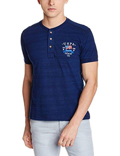 US Polo Men's Slim Fit T-Shirt (USTS5168 _Indigo Dark_M HS)