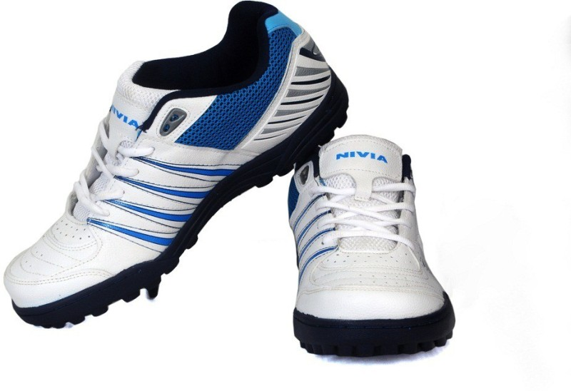 Nivia Caribbean Cricket Shoes(White, Blue)