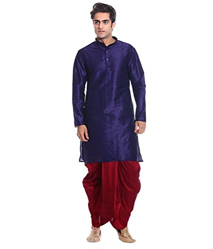 Mag Men's Navy Blue kurta Red Dhoti (AMG-1827-42)