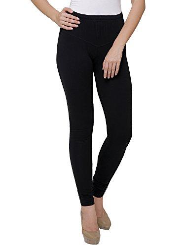 Buttun Women's Black Solid Cotton Lycra Legging