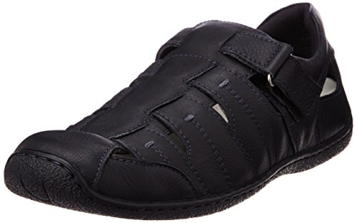 Hush Puppies Men's Oily Fisherman Black Leather Athletic and Outdoor Sandals – 10 UK/India (44 EU)(8546906)