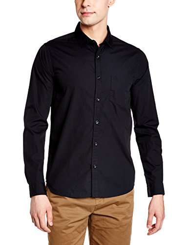 United Colors of Benetton Men's Casual Shirt (8903975373709_17P5RR55QV48I100_Large_Black)