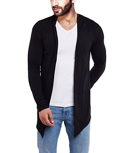 DENIMHOLIC Cotton Shrug For Men (BLACK, Medium)