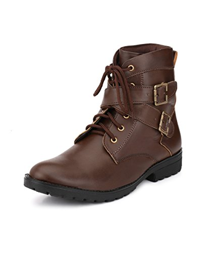 Knoos Men's Brown Synthetic Leather Heatbeat Boots (WAV-913, Size: 7 UK/IND)-WAV-913-BR-7