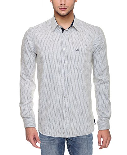 Ives Men's Casual Shirt (White, Small)