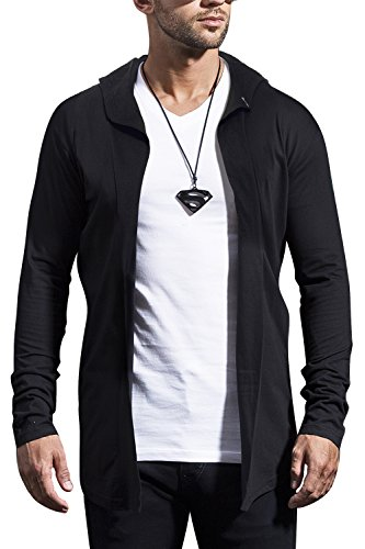 Maniac Mens Fullsleeve Hooded Black Cotton Shrug