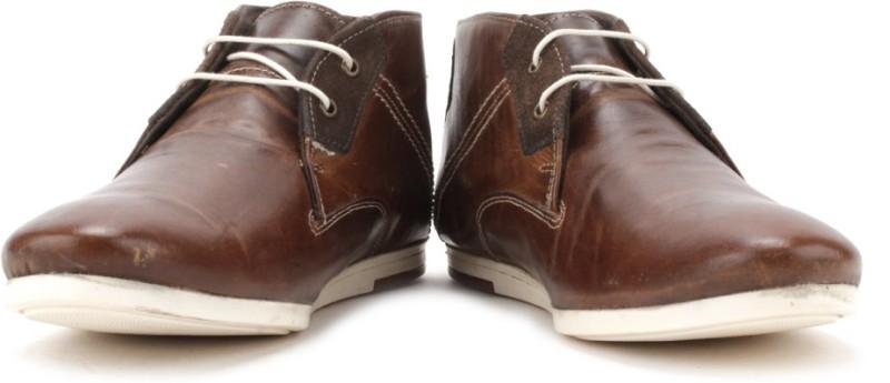 Red Tape Men Genuine Leather Sneakers(Brown)