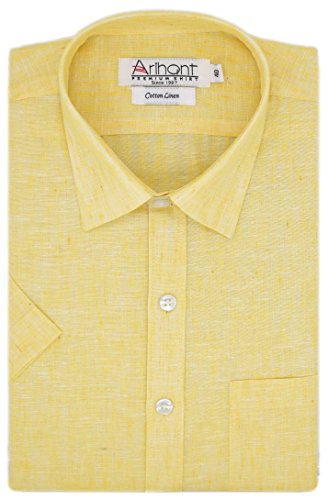 Arihant Men's Half Sleeves Plain Cotton Linen Regular fit Formal Shirt (AR73980642_Yellow_Size:42)