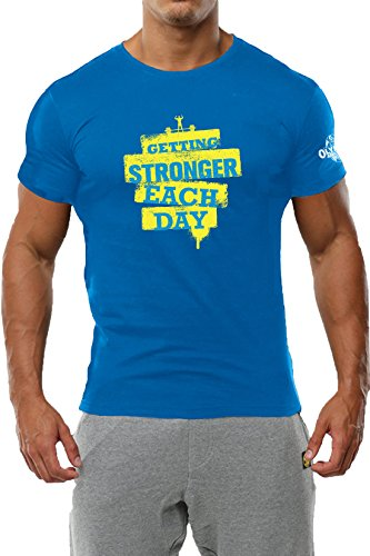 Hashtag Official Olympia India-Getting Stronger Blue T-Shirt for Men all type training and competion-GYM tshirts Medium (40) size