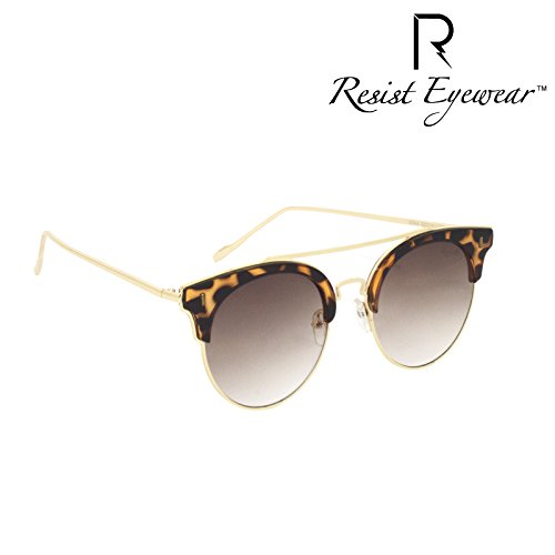 resist re syra 02 unisex uv protection brown metal half frame cateye fashion -