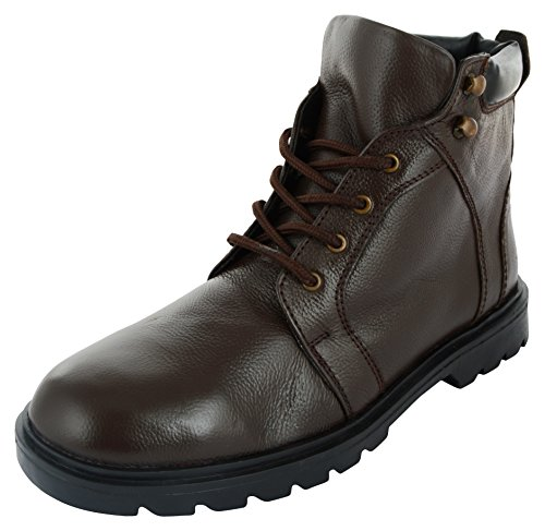 Auserio Men's Brown Leather Boots – 9 UK/India (43 EU)(SS-1023)