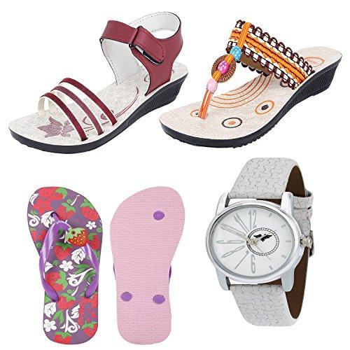 Bersache Women Combo Pack of 4 Sandals With Flip-Flops & Watch (7 UK)