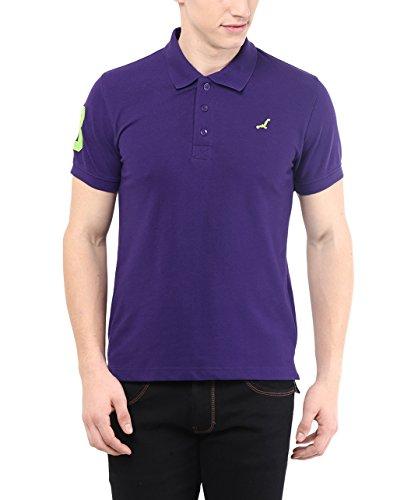 American Crew Men's Polo Collar Half Sleeve Deep Purple Solid T-Shirt With No.3 Applique – L (AC280-L)
