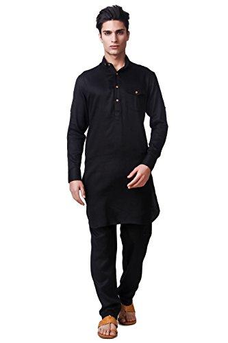 Adorro Cotton Double Collar Black Pathani Suit for Men – Classic Full Sleeves Festive Kurta & Pathani in Men Ethnic Wear – Size M